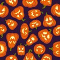 Pumpkin pattern. Seamless halloween background. Pumpkins characters with different faces design, wallpaper cartoon