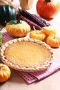 Pumpkin Pie With Autumn Pumpki...