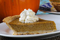 Pumpkin pie fresh homeade on a plate Royalty Free Stock Images
