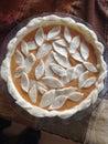 Pumpkin pie homemade for thanksgiving dinner Stock Photo
