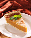 Pumpkin pie with mint garnish photo of a single piece of Stock Photography