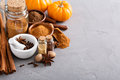 Pumpkin pie spice in a glass jar with ingredients Royalty Free Stock Photo