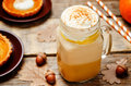 Pumpkin pie spice pumpkin latte Royalty Free Stock Photo