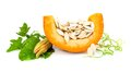 Pumpkin with pumpkin seeds Royalty Free Stock Photo