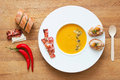 Pumpkin puree soup with extras Royalty Free Stock Image