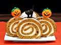 Pumpkin Roll Cake decorated for Halloween Royalty Free Stock Photo