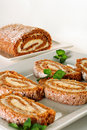 Pumpkin roll slices Royalty Free Stock Photo