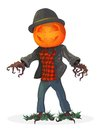 Pumpkin scarecrow. Illustration for the holiday Halloween Royalty Free Stock Photo
