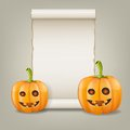 Pumpkin and scrolled paper vector illustration this is file of eps format Stock Images