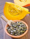 Pumpkin seed in the bowl Royalty Free Stock Image