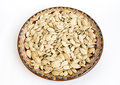 Pumpkin seed unpeeled in a traditional bulgarian painted ceramic plate Royalty Free Stock Images