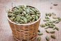 Pumpkin seeds in basket wicker Royalty Free Stock Images