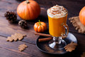 Pumpkin smoothie, spice latte. Boozy cocktail Royalty Free Stock Photo