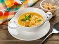 Pumpkin soup bowl of cream selective focus Stock Photography