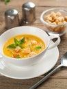 Pumpkin soup bowl of cream selective focus Stock Photos