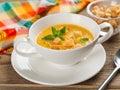 Pumpkin soup bowl of cream selective focus Stock Images