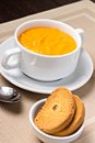 Pumpkin soup in bowl with crouton white Royalty Free Stock Image
