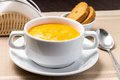 Pumpkin soup in a bowl with crouton white Stock Photo