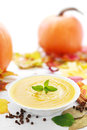Pumpkin soup bowl of fresh with spices and pumpkins Royalty Free Stock Photo