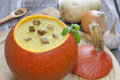 Pumpkin  soup and components Royalty Free Stock Photo