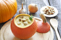 Pumpkin  soup and components Royalty Free Stock Photography