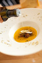 Pumpkin soup with mushrooms and parmesan cheese Royalty Free Stock Photography