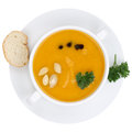 Pumpkin soup with pumpkins in bowl from above isolated