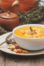 Pumpkin soup - puree with croutons Royalty Free Stock Photo