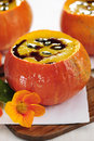 Pumpkin soup with seed oil and seeds selective focus Stock Photo