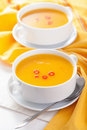 Pumpkin soup in white bowl Royalty Free Stock Photos