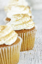 Pumpkin Spice Cupcake with Cream Cheese Icing Royalty Free Stock Photos