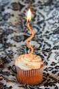 Pumpkin spice cupcake with orange wavy candle Stock Photos