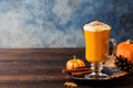 Pumpkin spice latte, smoothie, Boozy cocktail Royalty Free Stock Photo
