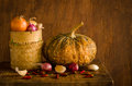 Pumpkin and spices on table still life many wood at kitchen Stock Photography