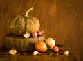 Pumpkin and spices on table still life many wood at kitchen Royalty Free Stock Photo