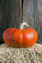 Pumpkin on straw bale a beautiful reddish orange a of hay in a barn Stock Image