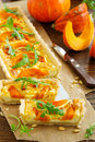 Pumpkin tart with cheese and nuts Stock Image