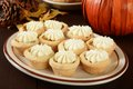 Pumpkin tarts a plate of with cream cheese frosting on a holiday table Royalty Free Stock Images
