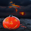 Pumpkin under a dramatic sky halloween Royalty Free Stock Photos