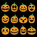 Pumpkin vector icons set, Halloween scary faces design set, horror decoration Royalty Free Stock Photo