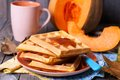 Pumpkin waffles Royalty Free Stock Photo
