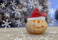Pumpkin in winter on blurred background Royalty Free Stock Photo