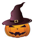 Pumpkin in witch hat smiling halloween dressed magical Stock Photography