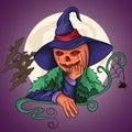 Pumpkin witch thinks