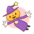 Pumpkin wizard mascot flying to the sky work and job character design series Stock Images
