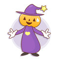 Pumpkin wizard mascot has been welcomed with both hands work an and job character design series Stock Photo
