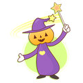 Pumpkin wizard mascot practice the black art work and job chara character design series Royalty Free Stock Photo