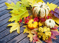 Pumpkins and autumn foliage on a wooden table Stock Images