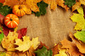Pumpkins and autumn leaves frame Royalty Free Stock Photo