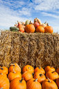 Pumpkins on a bale of straw pile under blue sky in harvest Royalty Free Stock Photography